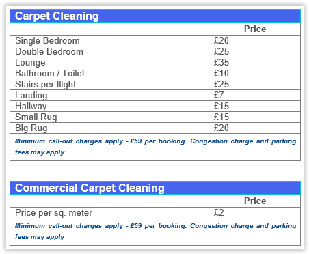 carpet cleaning Walthamstow prices