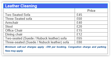 leather cleaning Walthamstow prices